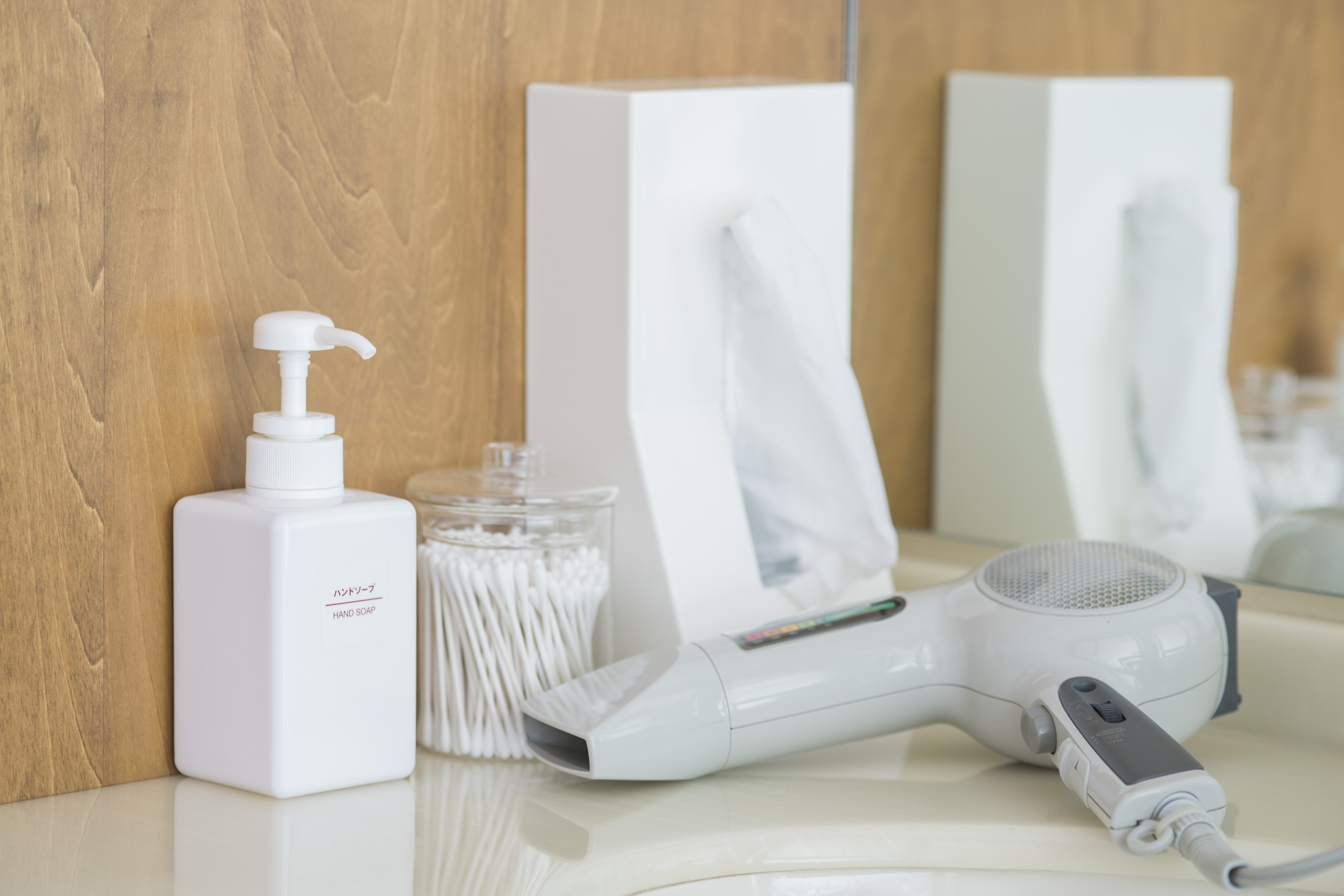 Large Shared Bath Sink (Hand Soap・Cotton Swabs・Tissue・Hair Dryer)